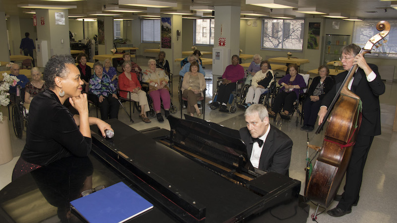 Piano and Bass play for residents